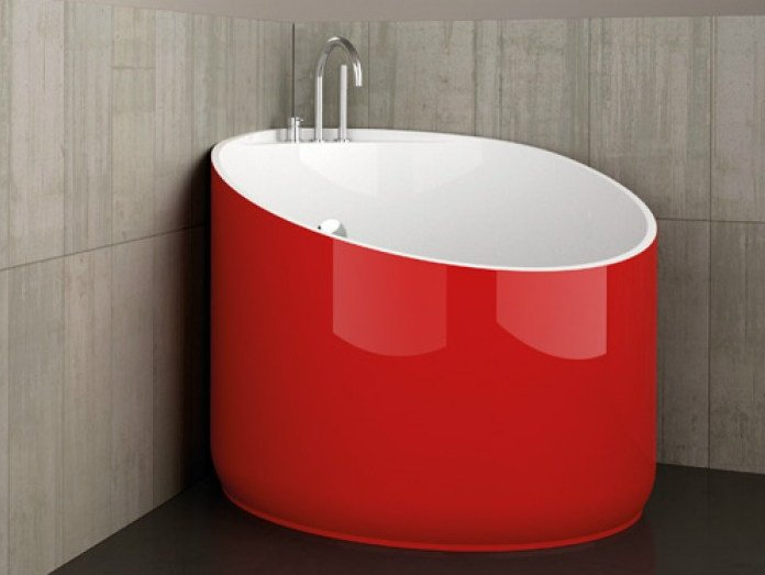 Vasca da bagno angolare rotonda mini red ferrari by glass design