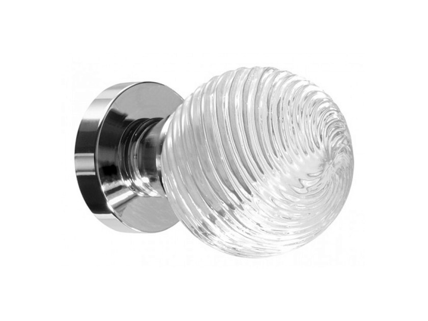 Crystal door knob with polished finishing TORCIGLIONE TRANSPARENT by Glass Design