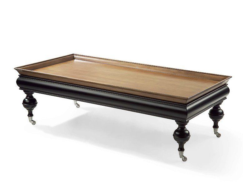Rectangular solid wood coffee table with casters THOR   Rectangular coffee table by MARIONI