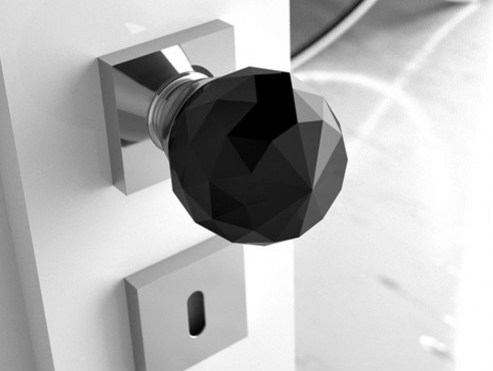 Crystal door knob with brushed finishing GEO Ø 60 BLACK by Glass Design