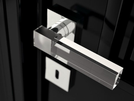 Crystal door handle with polished finishing KYMI HOME TRANSPARENT by Glass Design
