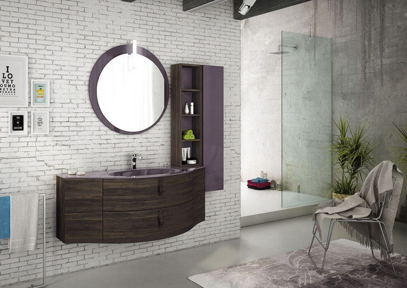 Sectional single wall-mounted vanity unit FREEDOM 02 by LEGNOBAGNO