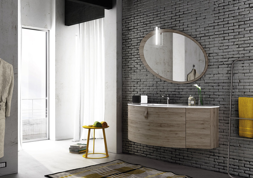 Sectional single wall-mounted vanity unit FREEDOM 01 by LEGNOBAGNO