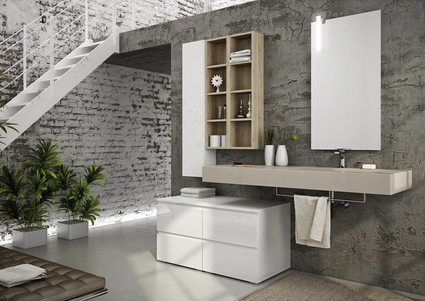 Sectional single wall-mounted vanity unit FREEDOM 09 by LEGNOBAGNO