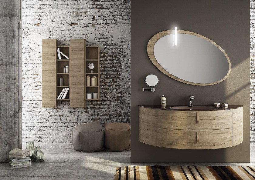 Sectional single wall-mounted vanity unit FREEDOM 05 by LEGNOBAGNO