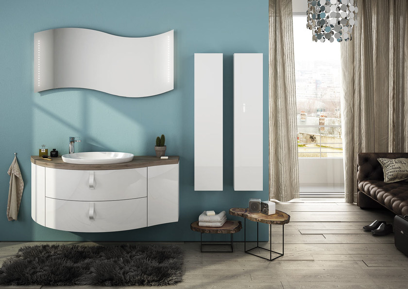 Sectional single wall-mounted vanity unit FREEDOM 07 by LEGNOBAGNO