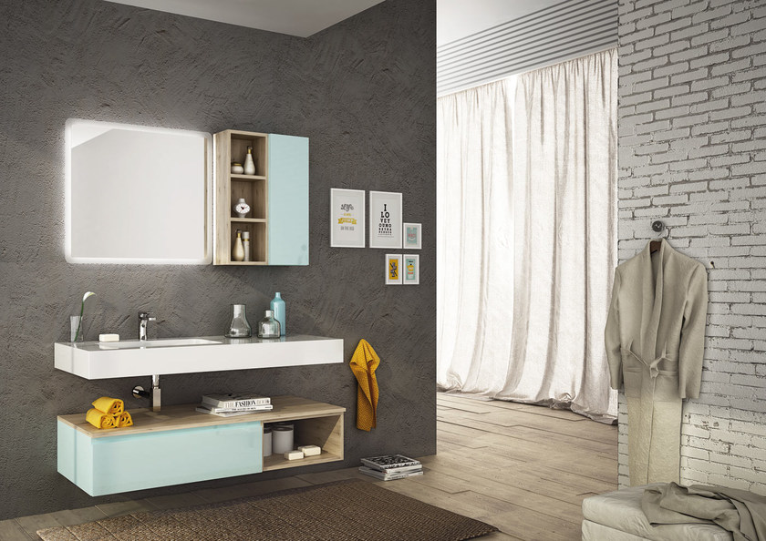 Sectional single wall-mounted vanity unit FREEDOM 08 by LEGNOBAGNO
