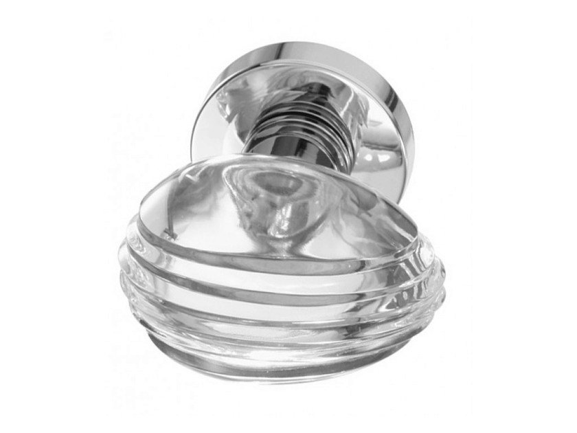 Crystal door knob with polished finishing OVO STRIPED TRANSPARENT by Glass Design