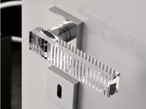 Crystal door handle with polished finishing KOS HOME TRANSPARENT by Glass Design