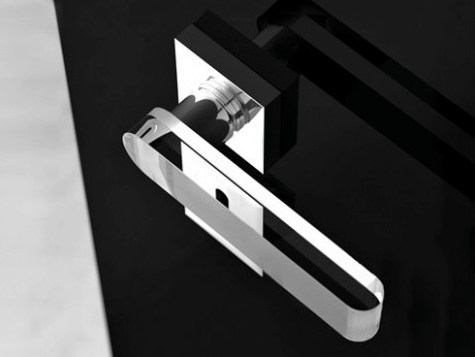 Crystal door handle with polished finishing ROUND HOME TRANSPARENT/SANDBLASTED by Glass Design
