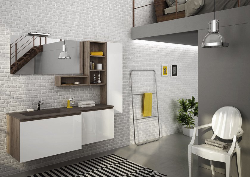 Sectional single wall-mounted vanity unit FREEDOM 17 by LEGNOBAGNO