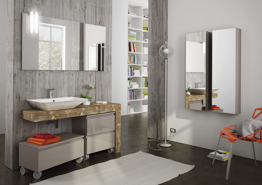 Sectional single wall-mounted vanity unit FREEDOM 13 by LEGNOBAGNO