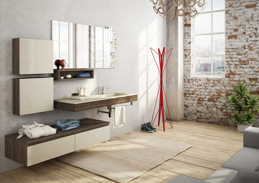 Sectional wall-mounted vanity unit FREEDOM 18 by LEGNOBAGNO