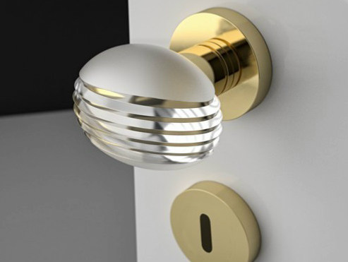 Crystal door knob with polished finishing OVO STRIPED BRUSHED by Glass Design