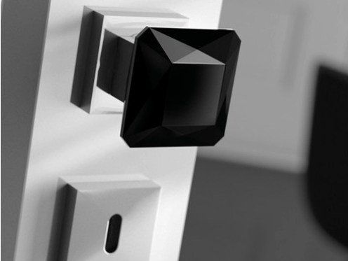 Crystal door knob with polished finishing DIAMOND Q BLACK by Glass Design