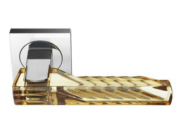 Crystal door handle with polished finishing ARKADIA HOME AMBER by Glass Design
