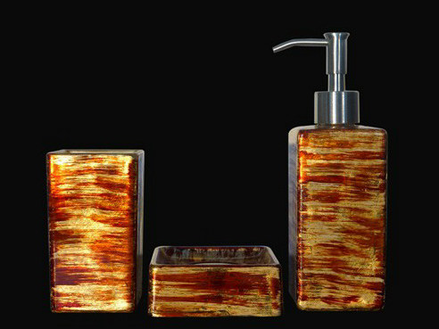 Countertop glass toothbrush holder GRAFFITI SET RED/GOLD/IVORY by Glass Design