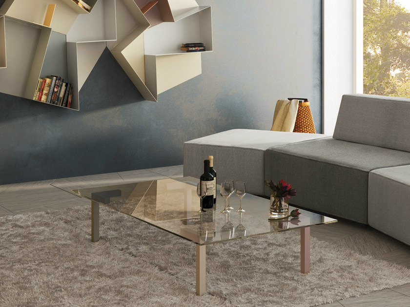 Low glass coffee table for living room AXYS | Coffee table by Lago
