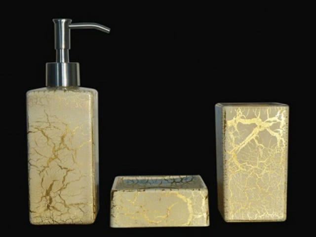 Countertop glass soap dish KALAHARI SET WHITE/GOLD by Glass Design