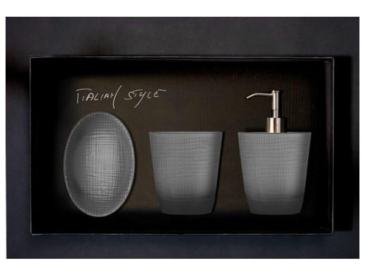 Countertop Vetro Freddo® soap dish FROZEN SET FUMÈ by Glass Design