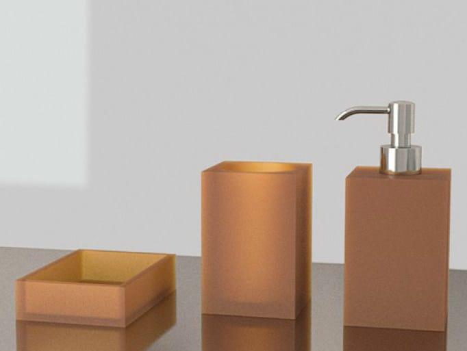 Countertop Vetro Freddo® soap dish NAVY SET COGNAC by Glass Design