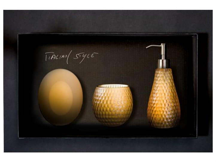 Countertop Vetro Freddo® soap dish GOLF SET COGNAC by Glass Design