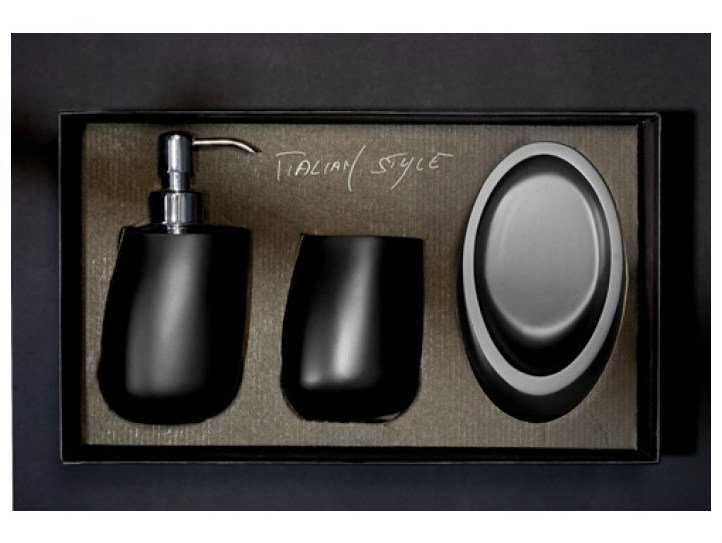 Countertop Vetro Freddo® soap dish KLEISS SET BLACK by Glass Design