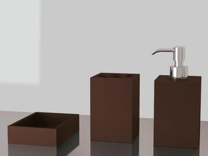 Countertop Vetro Freddo® soap dish NAVY SET MOKA by Glass Design