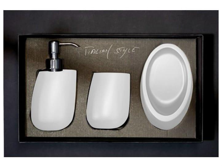 Countertop Vetro Freddo® soap dish KLEISS SET WHITE by Glass Design