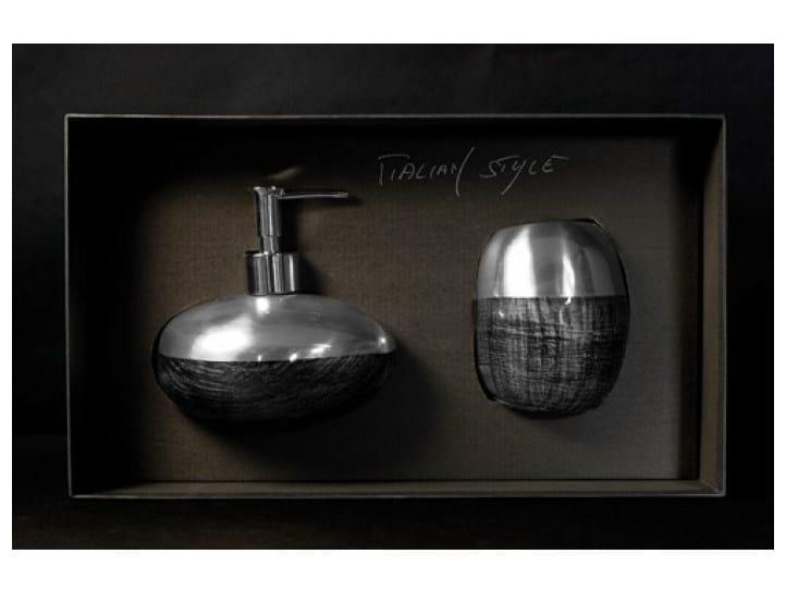 Liquid soap dispenser / toothbrush holder GLAMOUR SET BLACK/SILVER by Glass Design