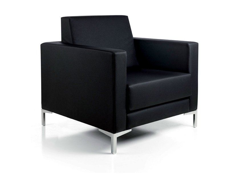 Upholstered imitation leather armchair with armrests ROTARY by Gamma & Bross