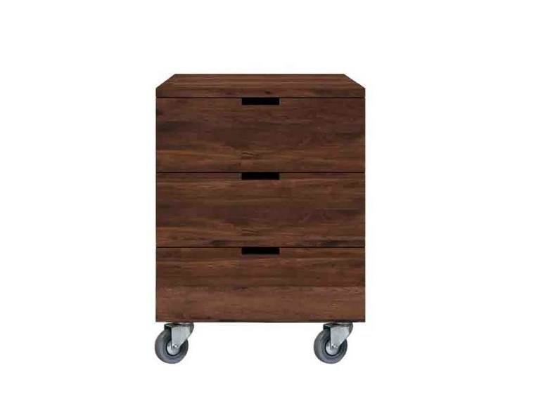 Walnut office drawer unit with casters BILLY by Ethnicraft