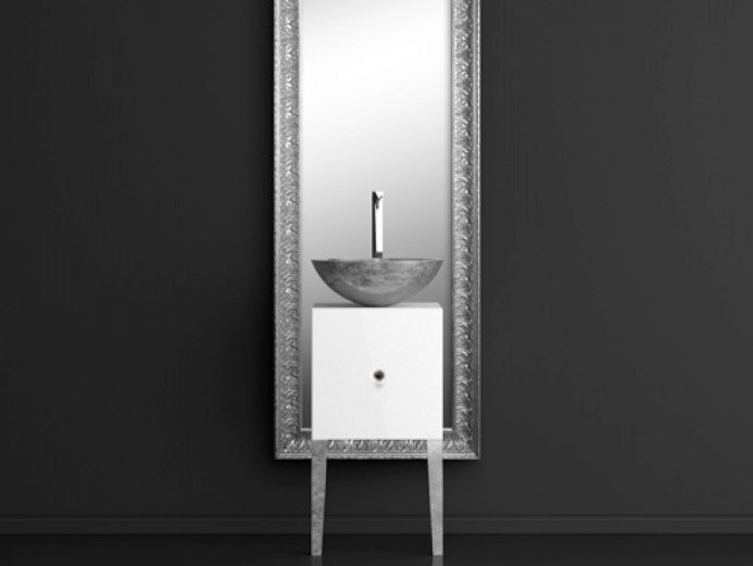 Single wooden vanity unit with mirror MONNALISA FLORENCE MOSAIC SILVER by Glass Design