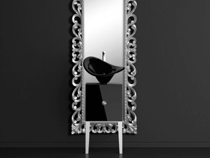 Single wooden vanity unit with mirror MONNALISA PRESTIGE FLOWER BLACK by Glass Design