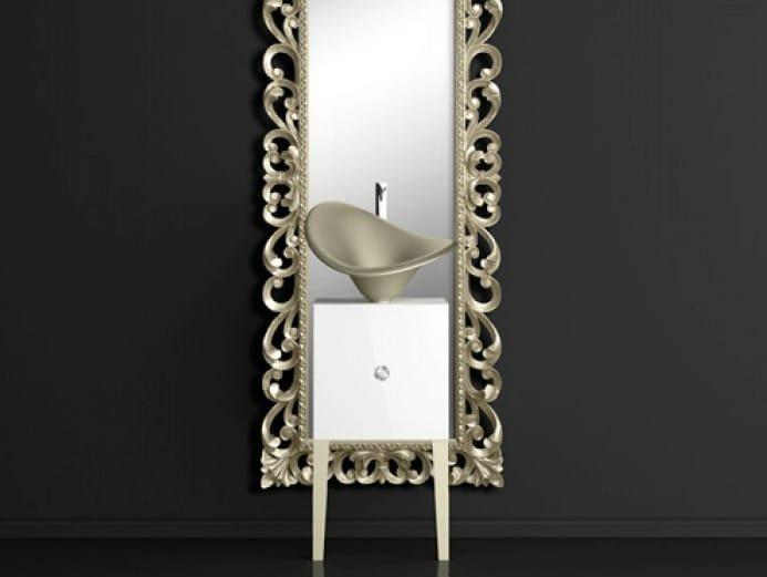 Single wooden vanity unit with mirror MONNALISA PRESTIGE FLOWER PLATINUM by Glass Design