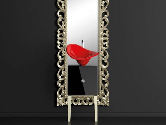 Single wooden vanity unit with mirror MONNALISA PRESTIGE FLOWER RED FERRARI by Glass Design