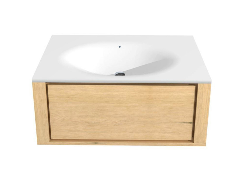 Single wall-mounted oak vanity unit with drawers OAK QUALITIME | Single vanity unit by Ethnicraft