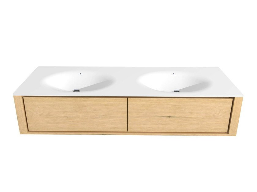Double wall-mounted oak vanity unit with drawers OAK QUALITIME | Vanity unit by Ethnicraft