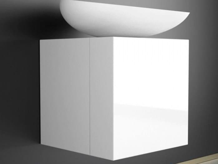 Lacquered single wooden vanity unit LEONARDO CUBUS WHITE KOOL MAX WHITE by Glass Design