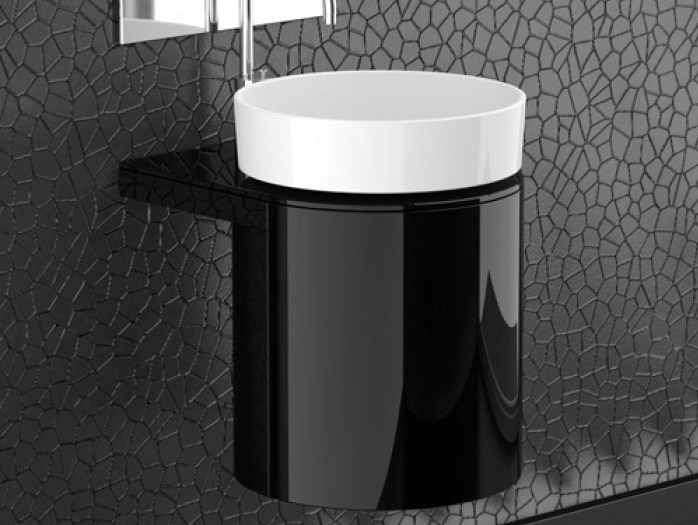 Lacquered wall-mounted wooden vanity unit LEONARDO KOIN MEDIO BLACK RHO WHITE by Glass Design
