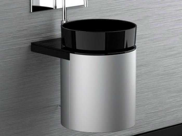 Lacquered wall-mounted wooden vanity unit LEONARDO KOIN MEDIO DARK INOX RHO BLACK by Glass Design