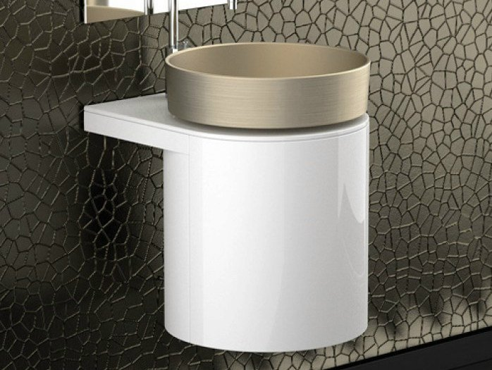 Lacquered wall-mounted wooden vanity unit LEONARDO KOIN MEDIO WHITE RHO PLATINUM by Glass Design