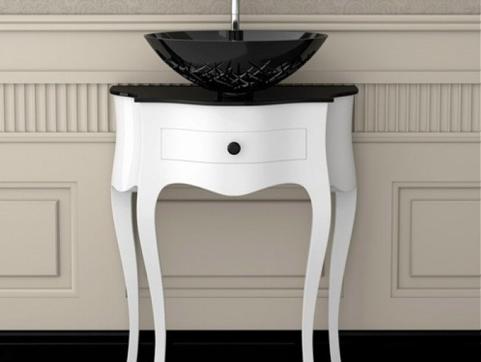 Floor-standing wooden console sink LEONARDO CANTO WHITE ICE OVAL SMALL by Glass Design