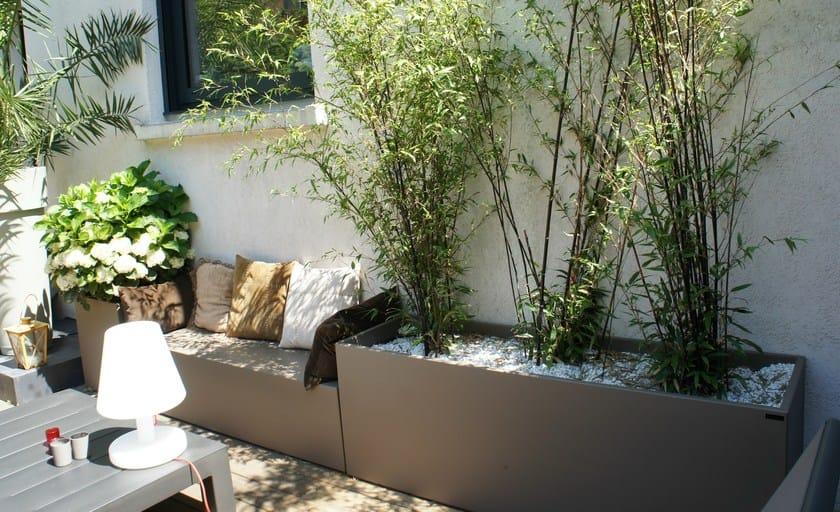 Modular fiber cement garden bench with integrated planter Garden bench with integrated planter by IMAGE'IN