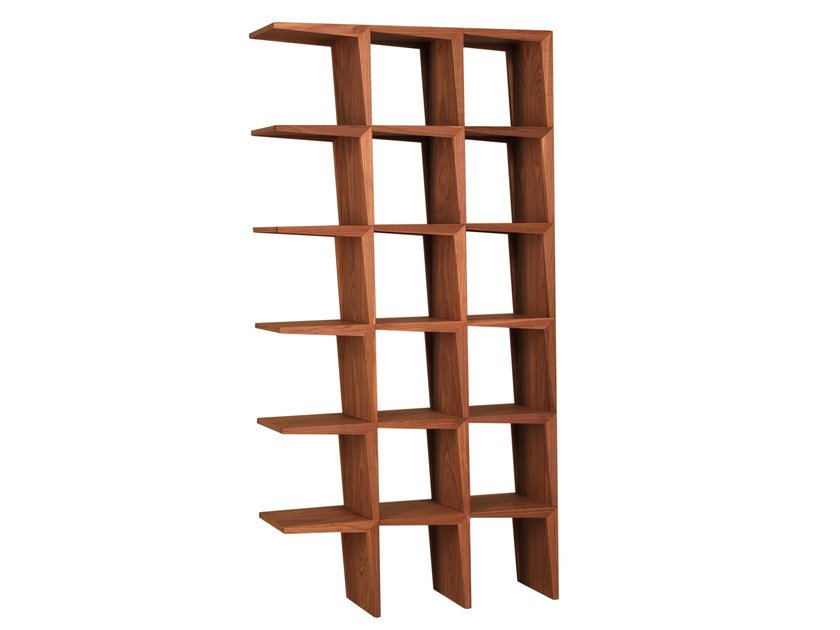 Open double-sided walnut bookcase KANT   Bookcase by Morelato