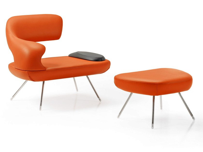 Upholstered leather armchair with footstool OASI by ESTEL GROUP
