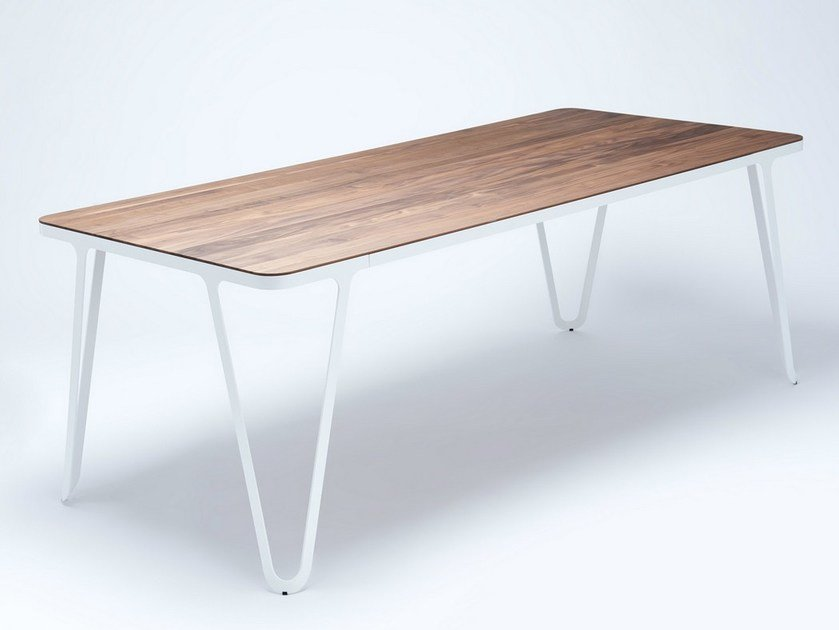 Rectangular steel and wood table LOOP TABLE by NEO/CRAFT