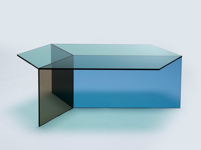 Glass coffee table ISOM OBLONG by NEO/CRAFT