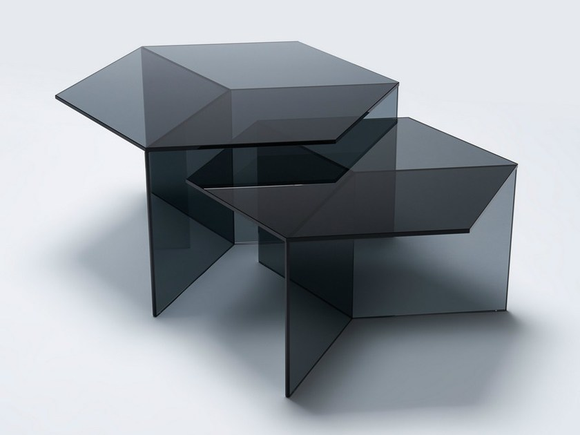 Glass coffee table ISOM SQUARE by NEO/CRAFT