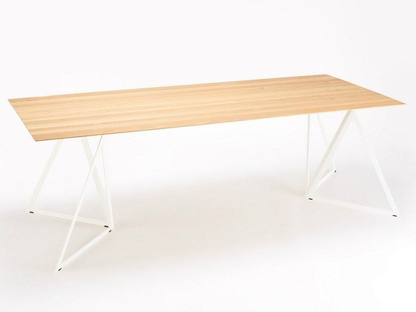 Rectangular steel and wood table STEEL STAND TABLE | Steel and wood table by NEO/CRAFT